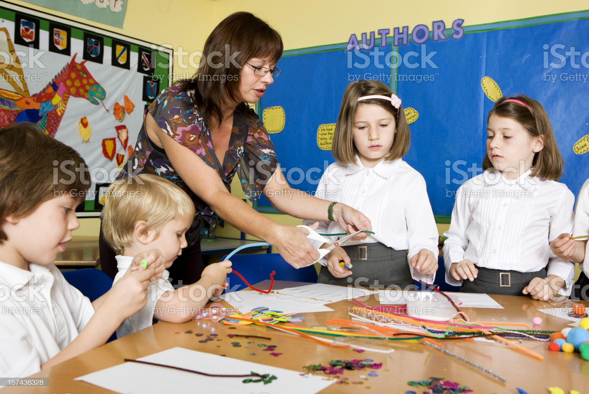 primary school: arts and crafts lesson royalty-free stock photo