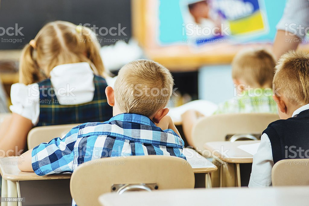 Primary school children in classroom royalty-free stock photo