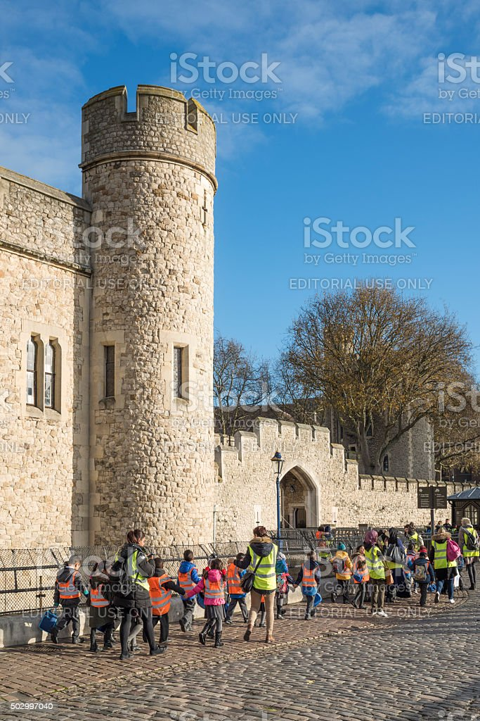 Primary school class is visiting Tower of London stock photo