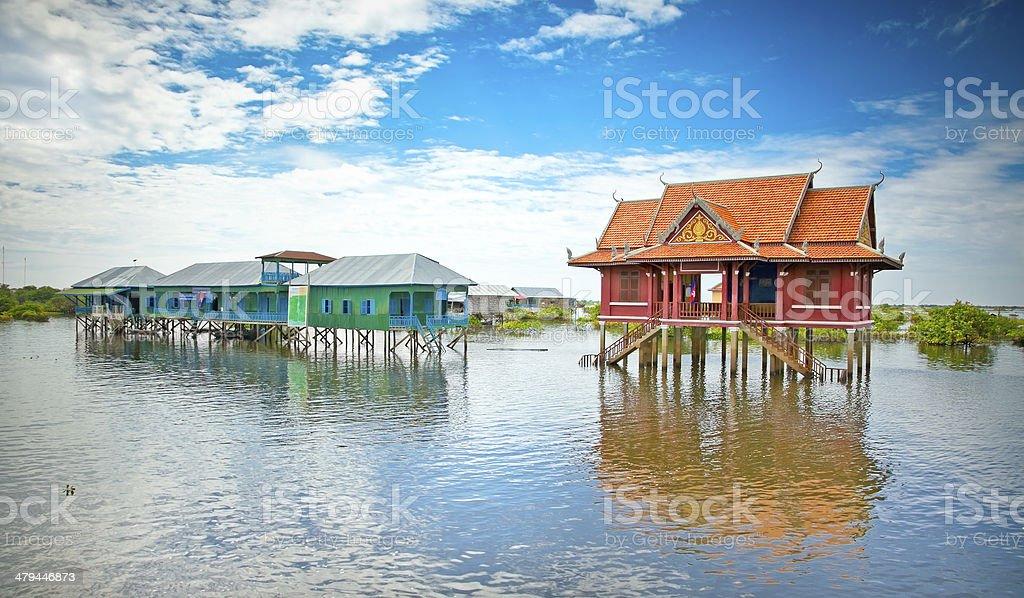 Primary school in village on Tonle Sap lake. Cambodia stock photo