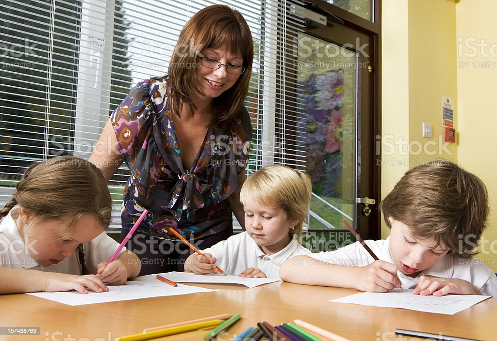 primary school: reading, writing and arithmatic stock photo