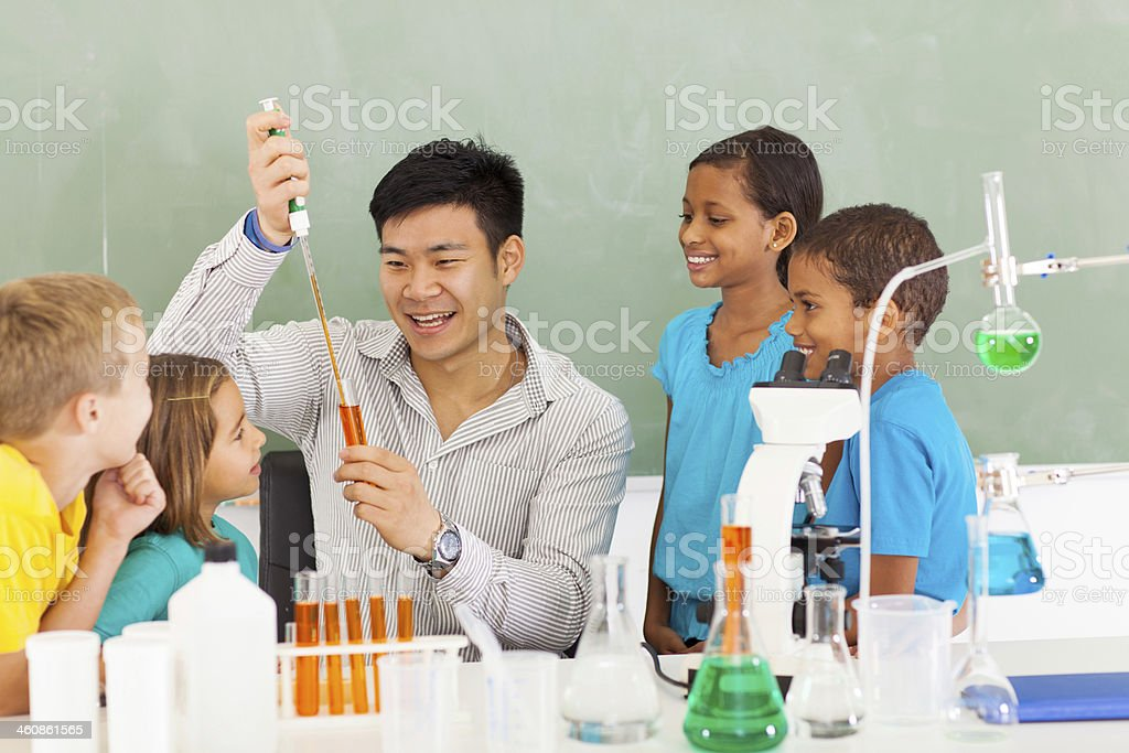primary school science experiment stock photo