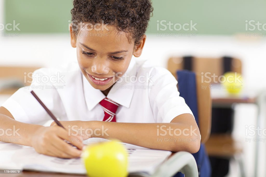 primary schoolboy writing class work royalty-free stock photo