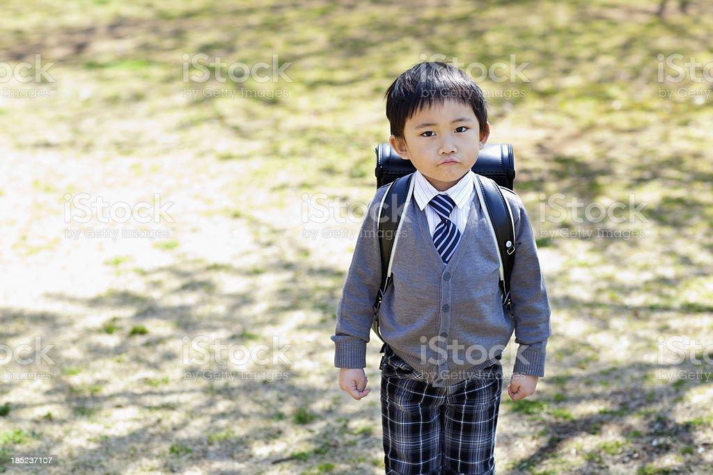 primary schoolchild is displeased. stock photo