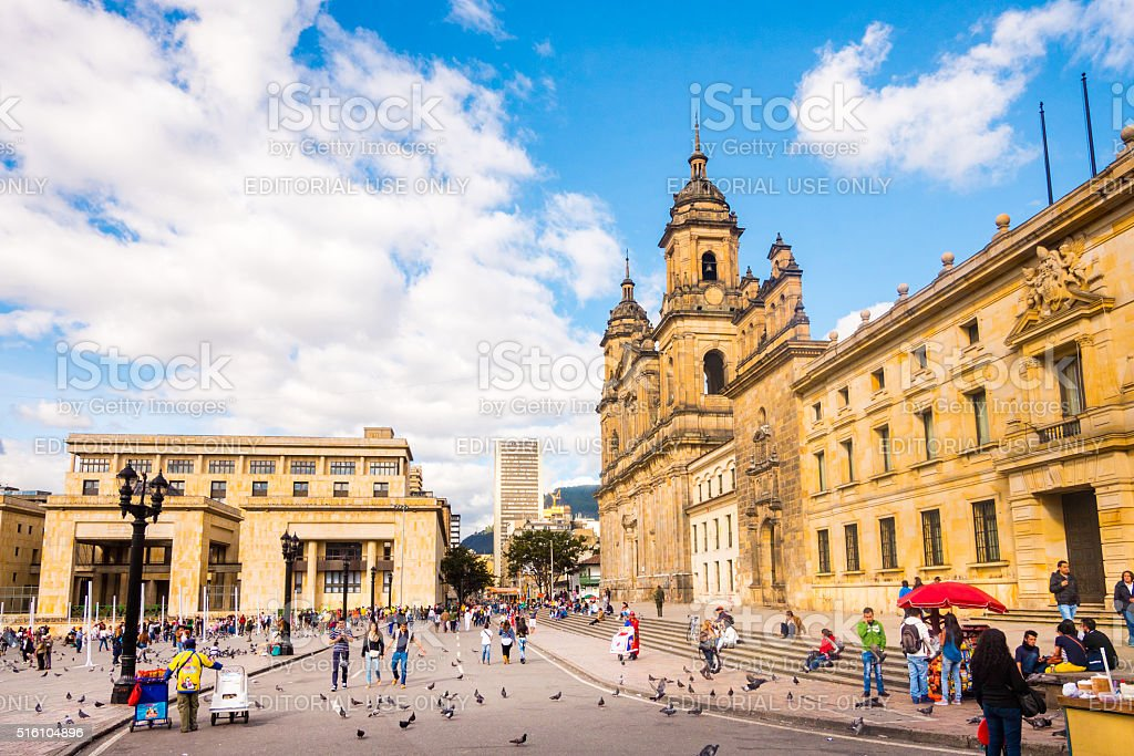 Primatial Cathedral of Bogota stock photo