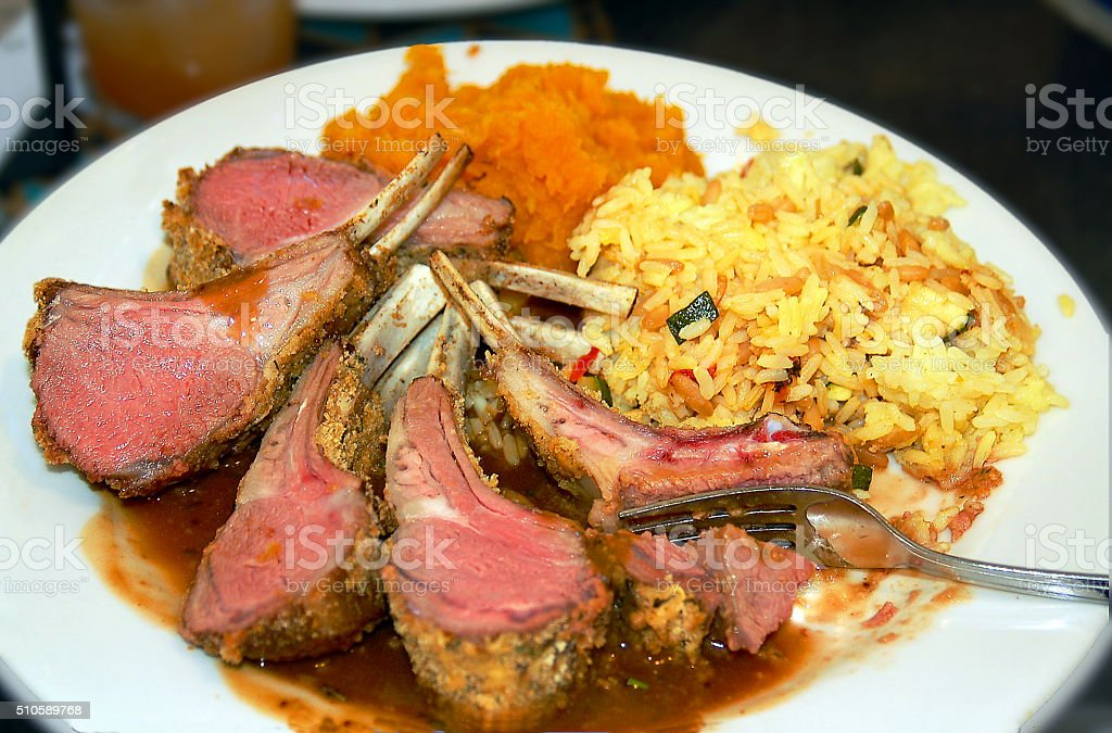 Prime Rib and Rice Plate stock photo