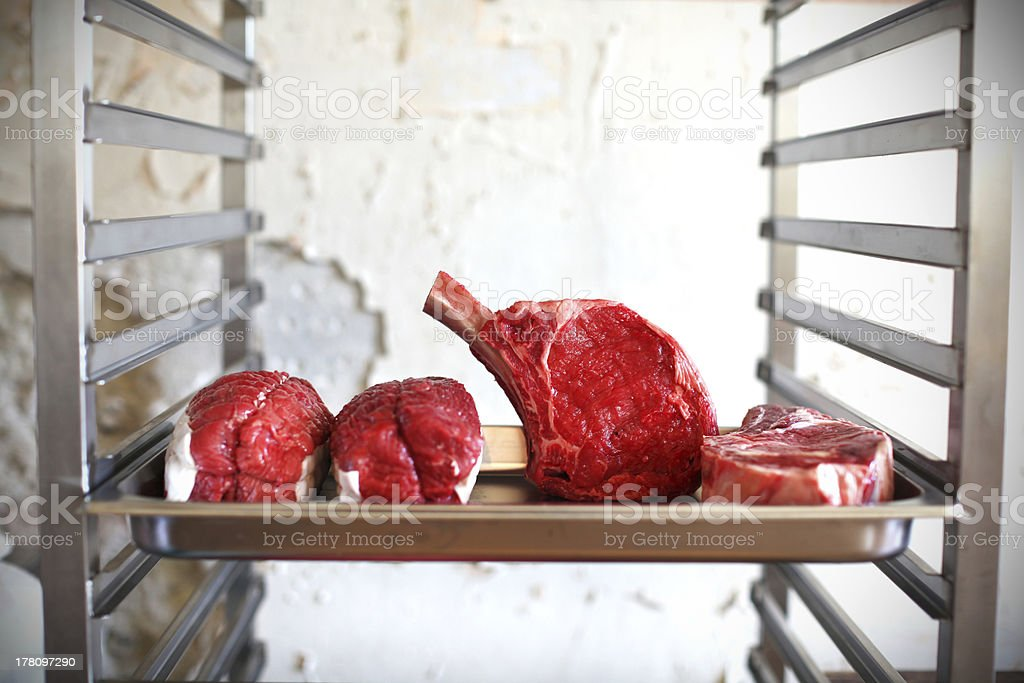 Prime rib, raw beef meat at the butcher shop royalty-free stock photo
