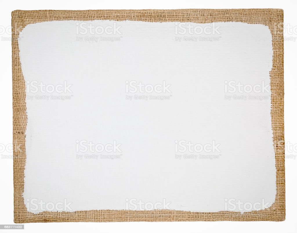 primed and stretched burlap art canvas stock photo