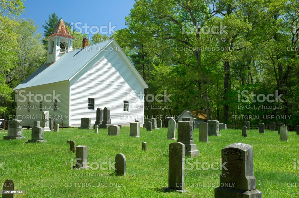 Primitive Baptist Church and Cemetary in Cades Cove, Smoky Mountains stock photo