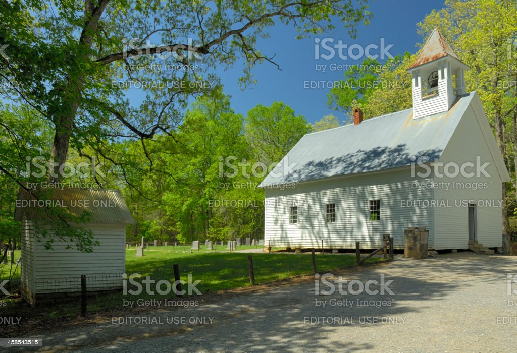 Primitive Baptist Church in Cades Cove of Great Smoky Mountains stock photo