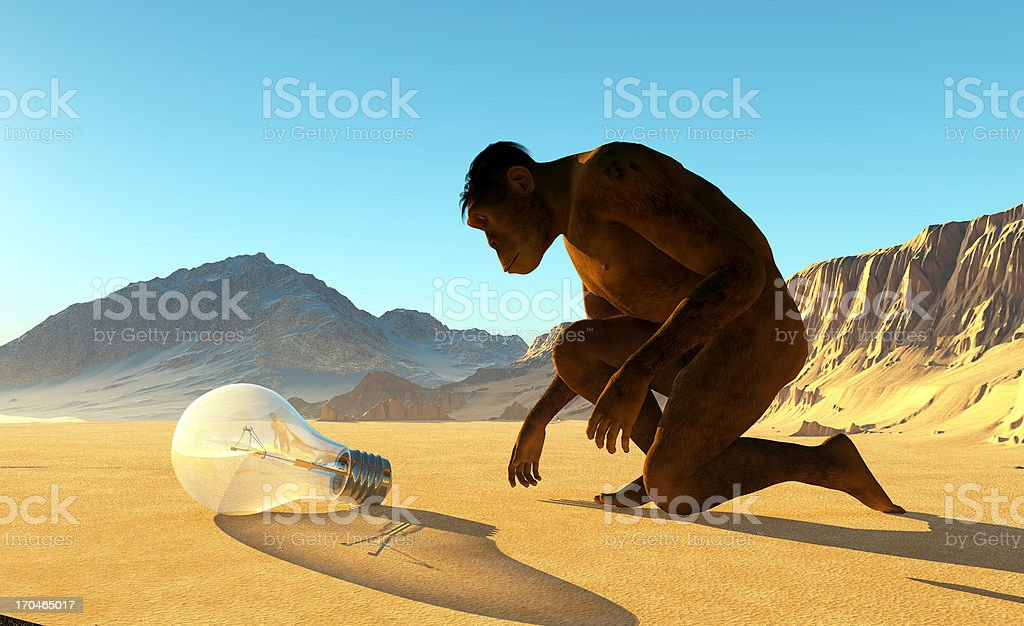 Primitive man and the light stock photo