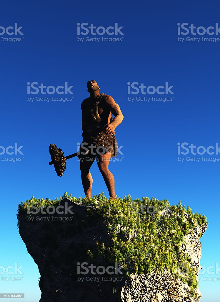 Primitive man stock photo