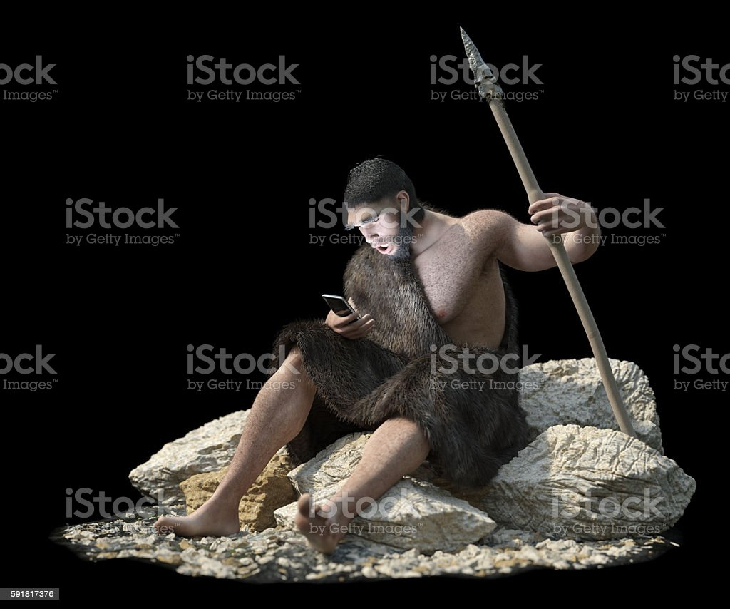 primitive man with smartphone on isolate black concept 3d illustration stock photo