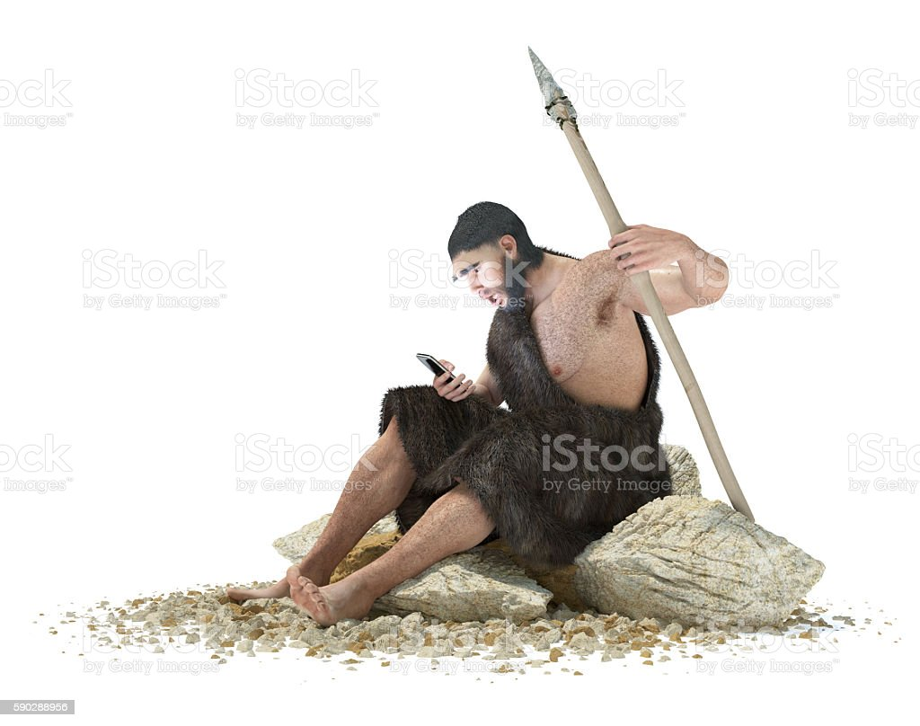 primitive man with smartphone on isolate white concept 3d illustration stock photo