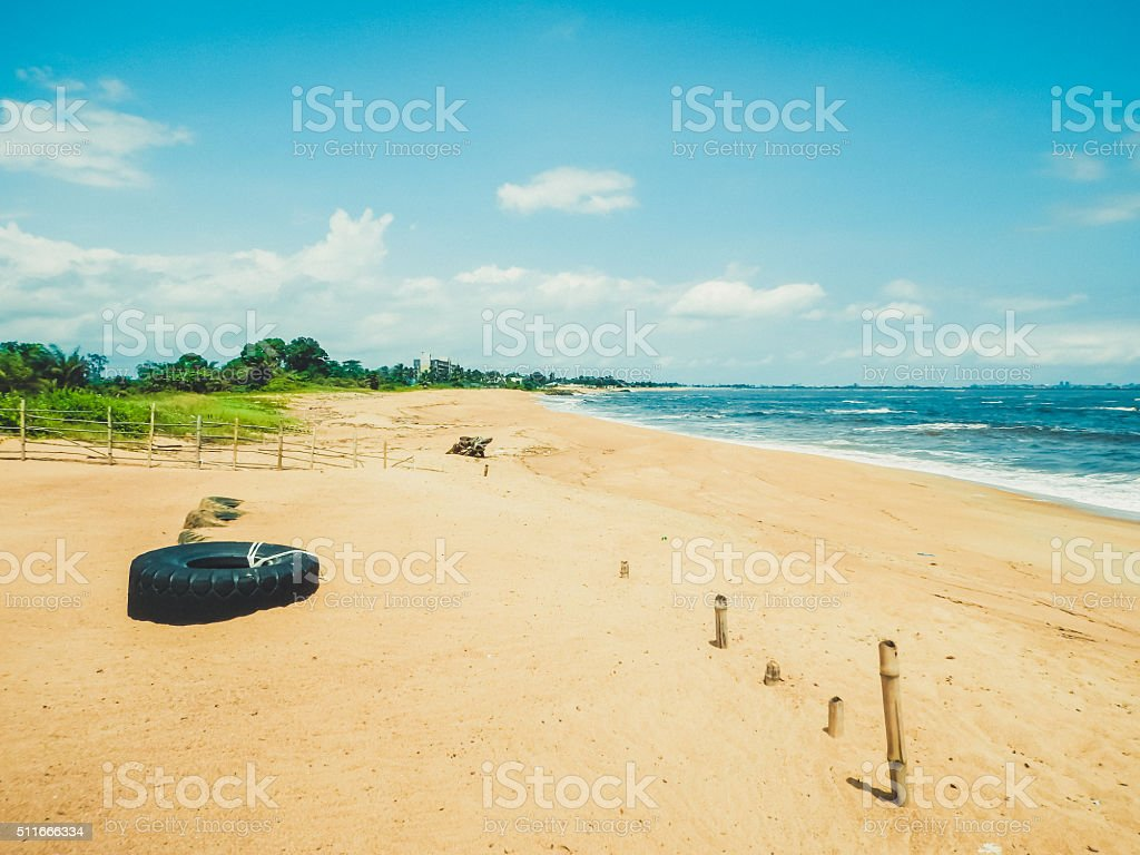 Primitive wild deserted beach on the Atlantic ocean stock photo