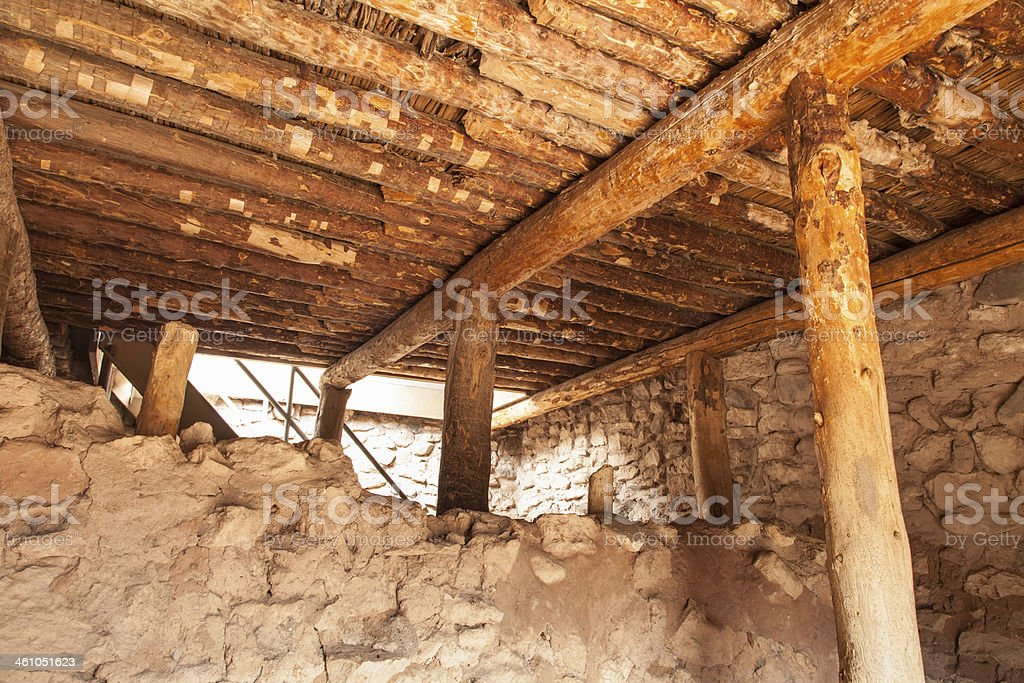 primitive wood beam structure stock photo