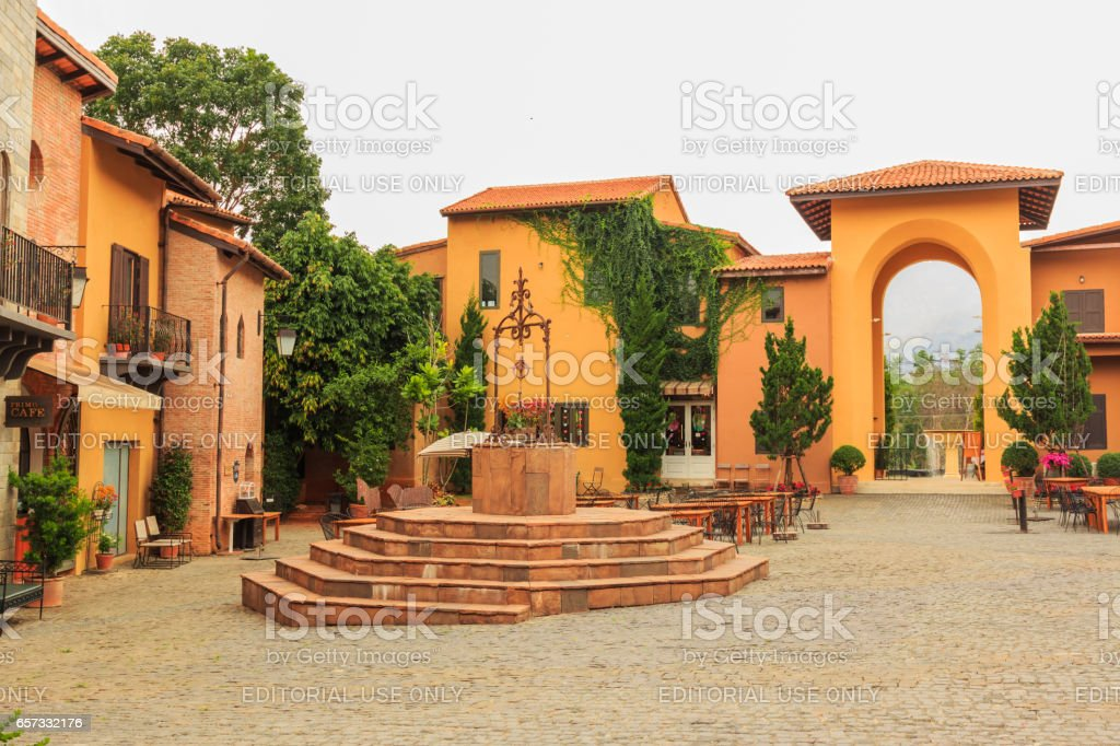 KORAT , THAILAND- MARCH 22, 2017 : Primo Piazza , the Italian style small town at Korat province in Thailand . At inside of Primo piazza stock photo