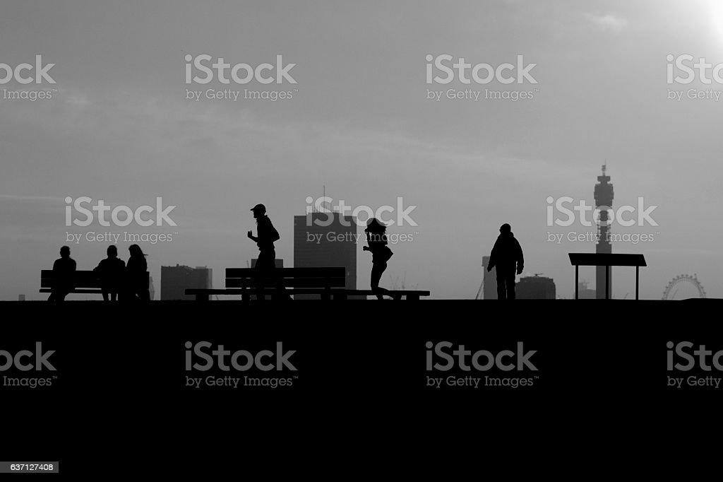 Primrose Hill silhouettes stock photo