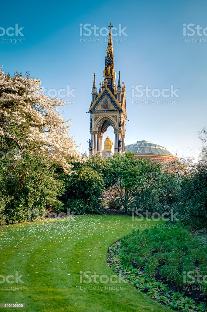 Prince Albert memorial seen from Kensington gardens stock photo