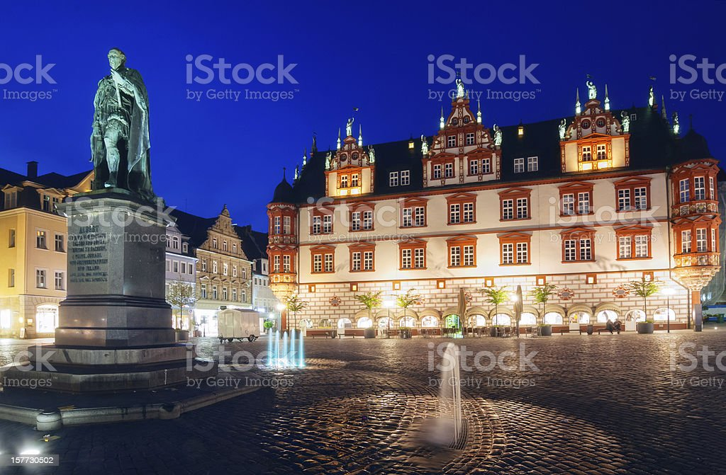Prince Albert statue at the town square of Coburg stock photo