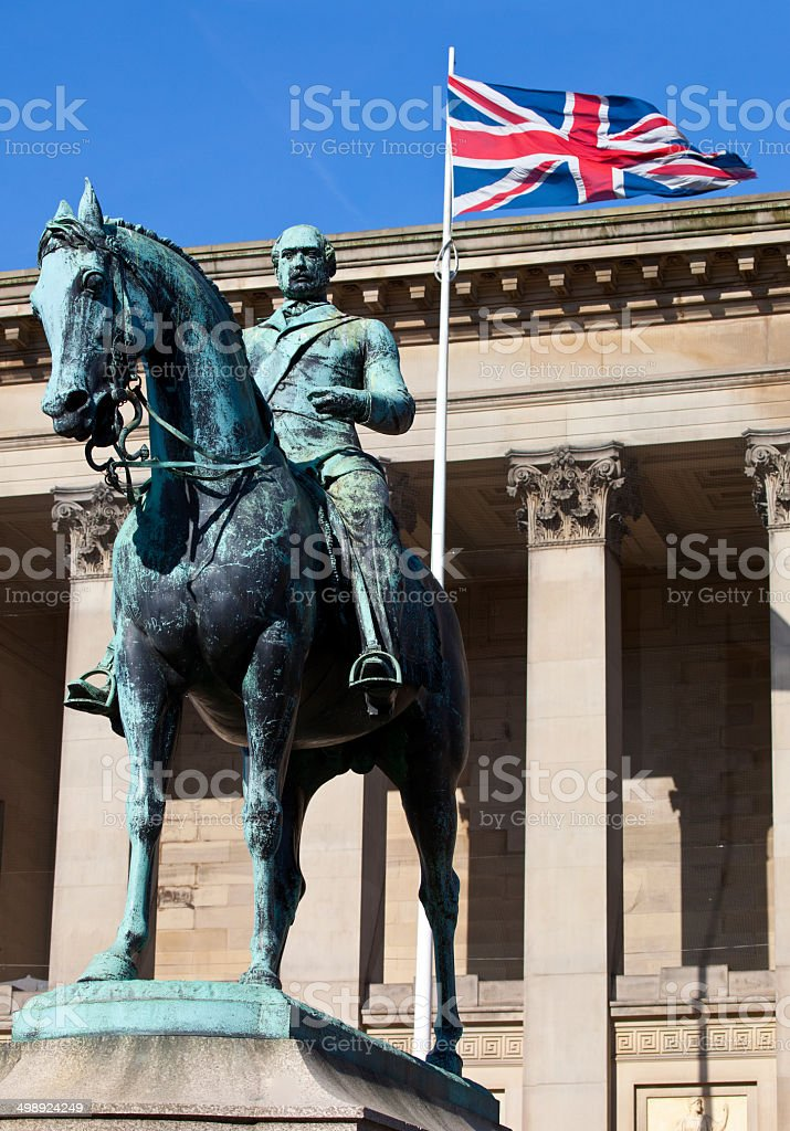 Prince Albert Statue Outside St. George's Hall in Liverpool royalty-free stock photo