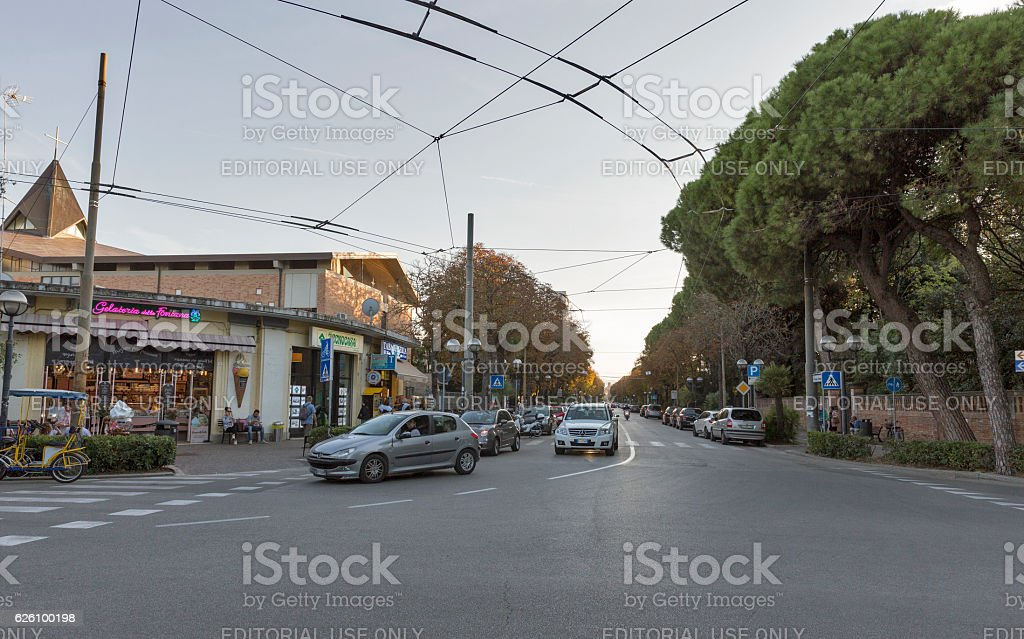 Prince Amedeo Avenue in Rimini, Italy stock photo