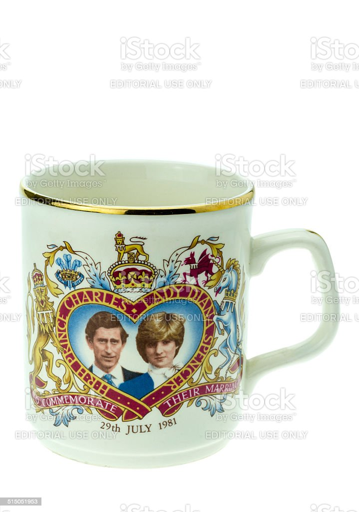 Prince Charles and Lady Diana Royal Wedding Day Mug stock photo