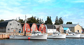 Prince Edward Island fishing village- boats, storage sheds, homes