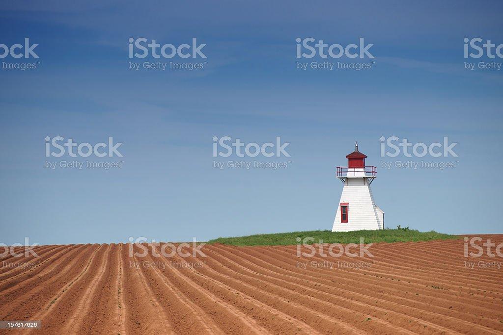 Prince Edward Island lighthouse and potato field. stock photo