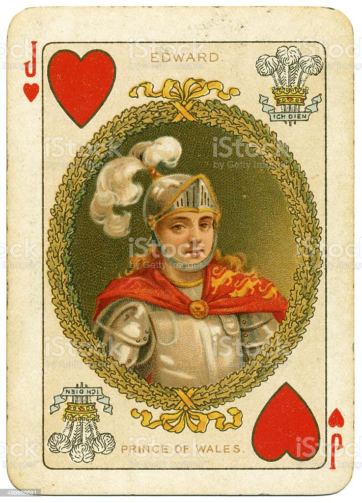 Prince Edward Jack of Hearts playing card 19th century stock photo