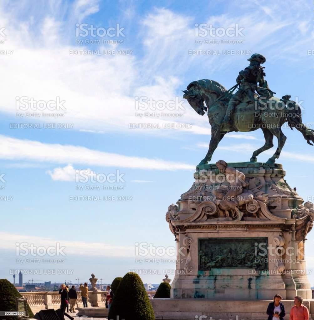Prince Eugene of Savoy's Statue in Budapest Castle. stock photo