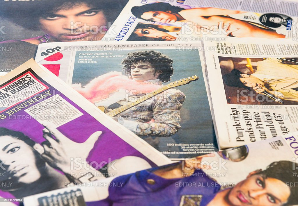 Prince featured in newspapers following his death stock photo