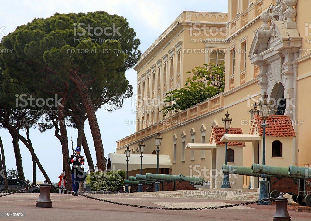 Prince Palace of Monaco and honor guard, Monte-Carlo, stock photo