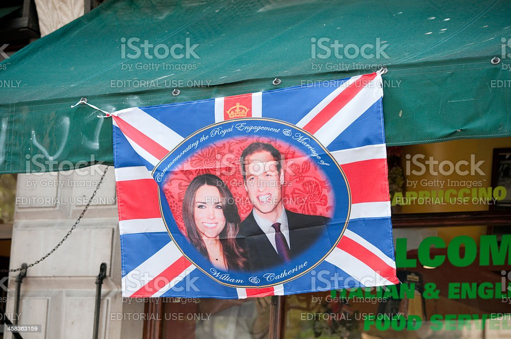 "Prince William and Catherine ""Kate"" Middleton hanging from cafe canopy stock photo"