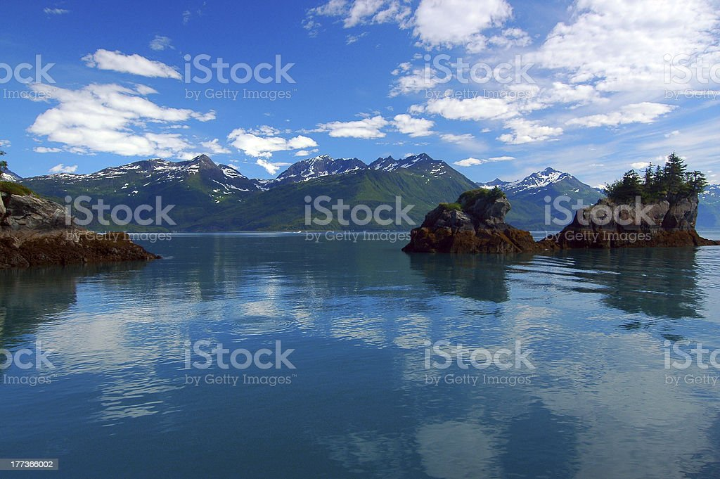 Prince William Sound Reflection, Valdez, Alaska stock photo