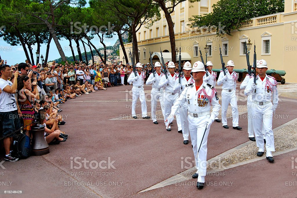Prince's Palace of Monaco, changing of the guard stock photo