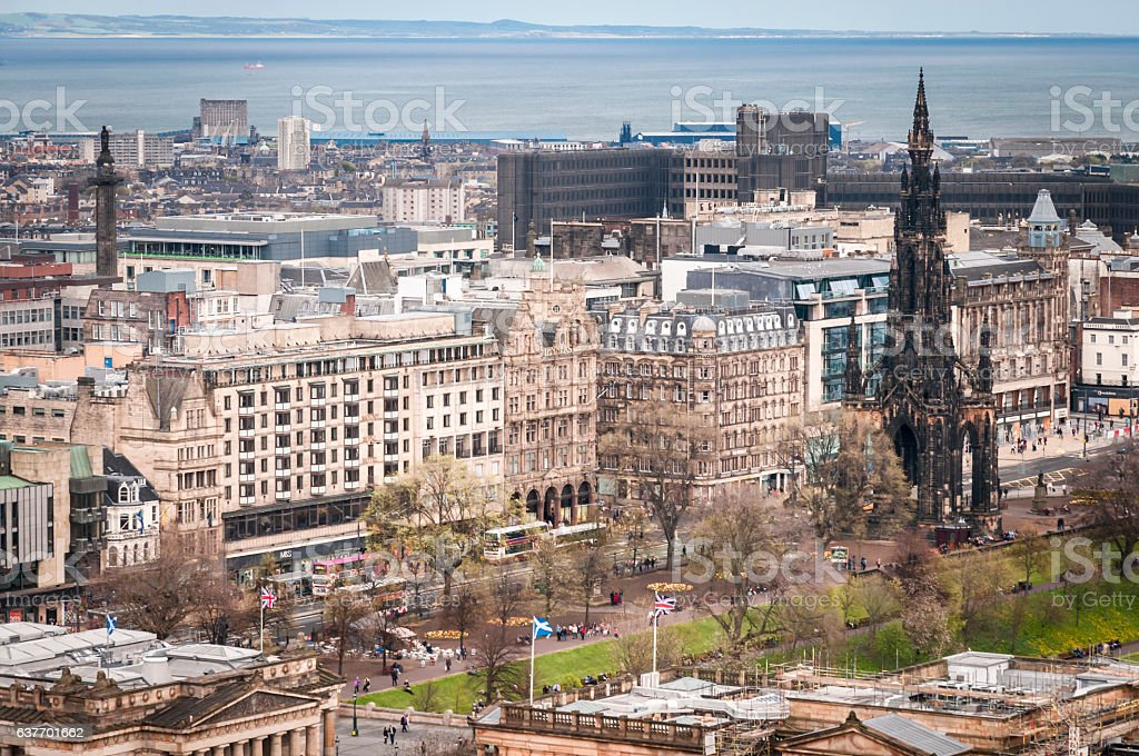 Princes Street and the Scott Monument stock photo