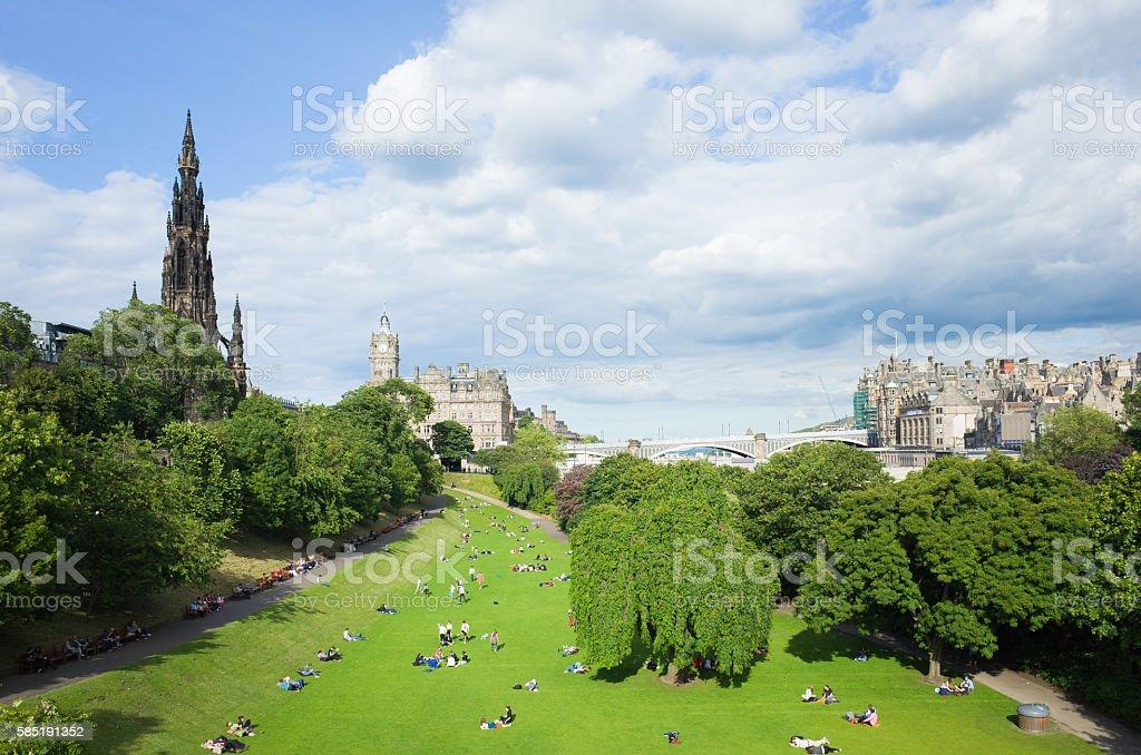 Princes Street Gardens Edinburgh Scotland on Sunny Day stock photo