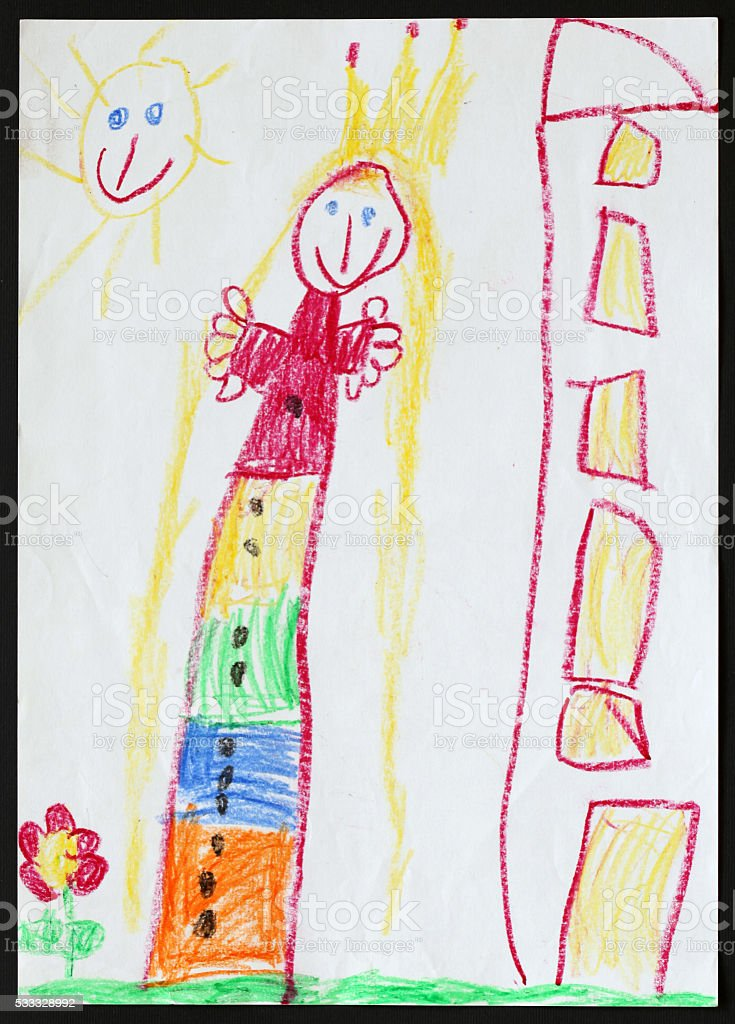 Princess. Child's Drawing. stock photo