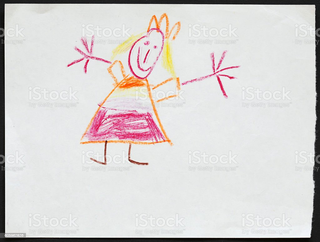 Princess. Child's Drawing. stock photo
