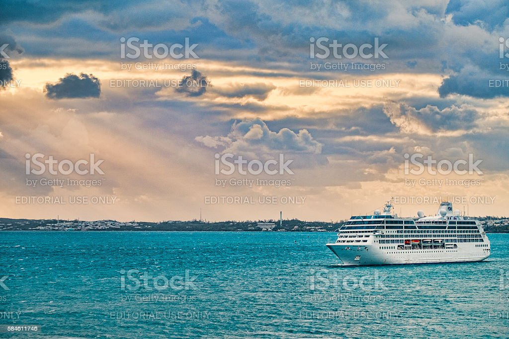 Princess Cruise Ship Arriving inKIng's Wharf,  Bermuda at Dawn stock photo