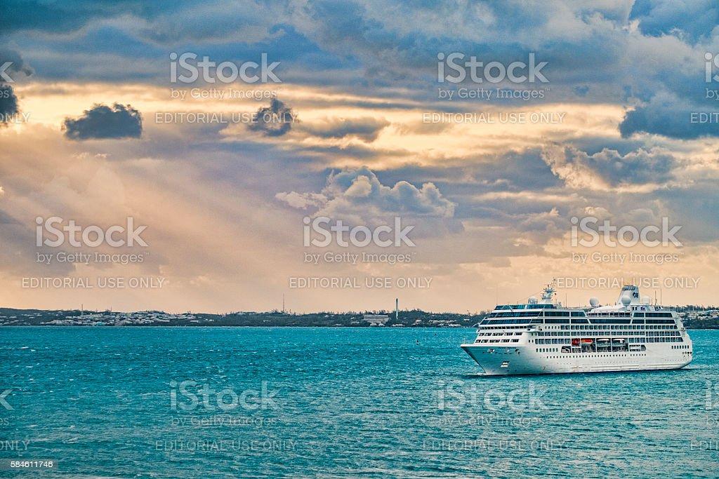 Princess Cruise Ship Arriving inKIng's Wharf,  Bermuda at Dawn stock photo