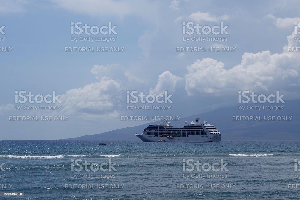 Princess Cruise Ship docked offf coast of Maui with stock photo