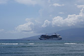 Princess Cruise Ship docked offf coast of Maui with