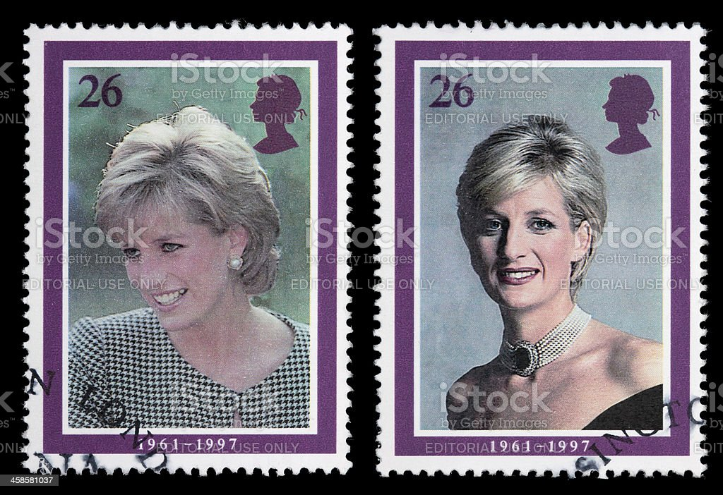 Princess Diana portrait stamps stock photo