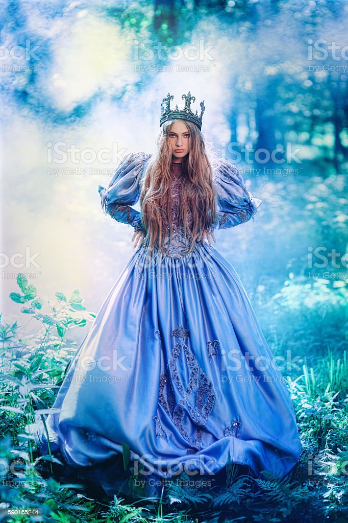 Princess in magic forest stock photo