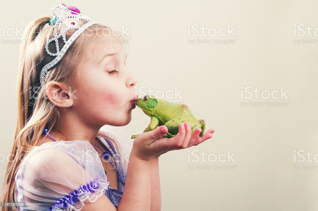 Princess Kissing a Frog stock photo