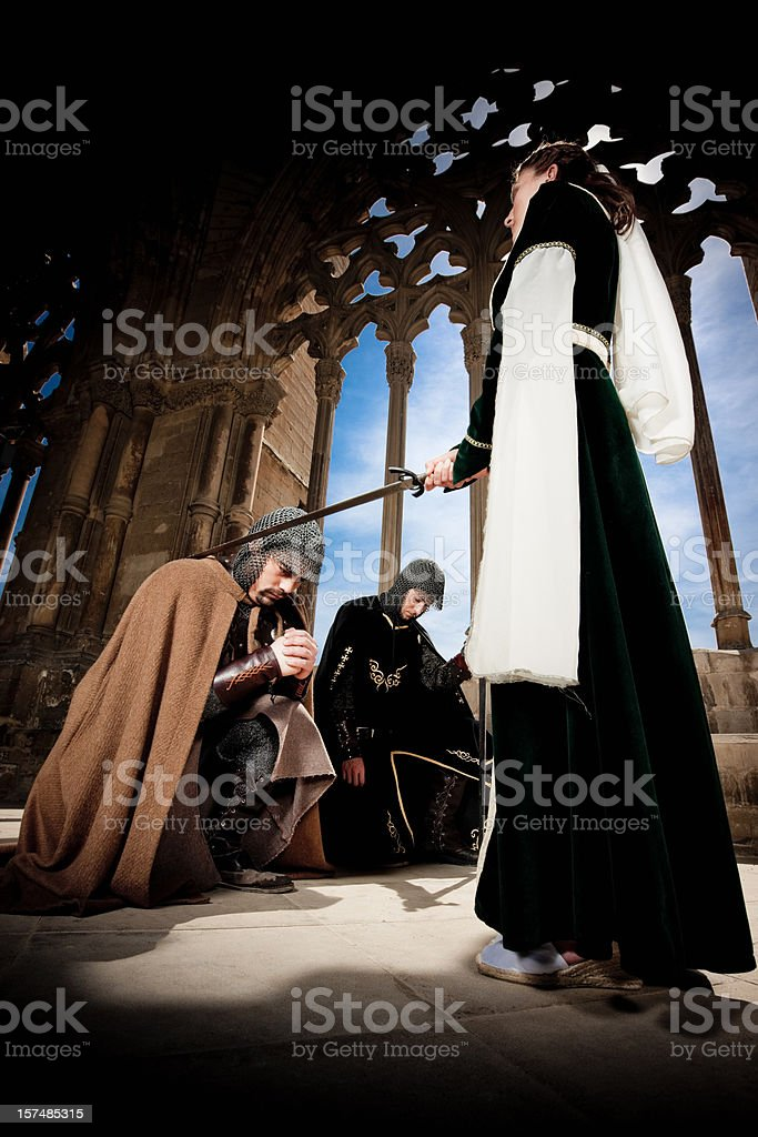 Princess knighting the Warriors stock photo