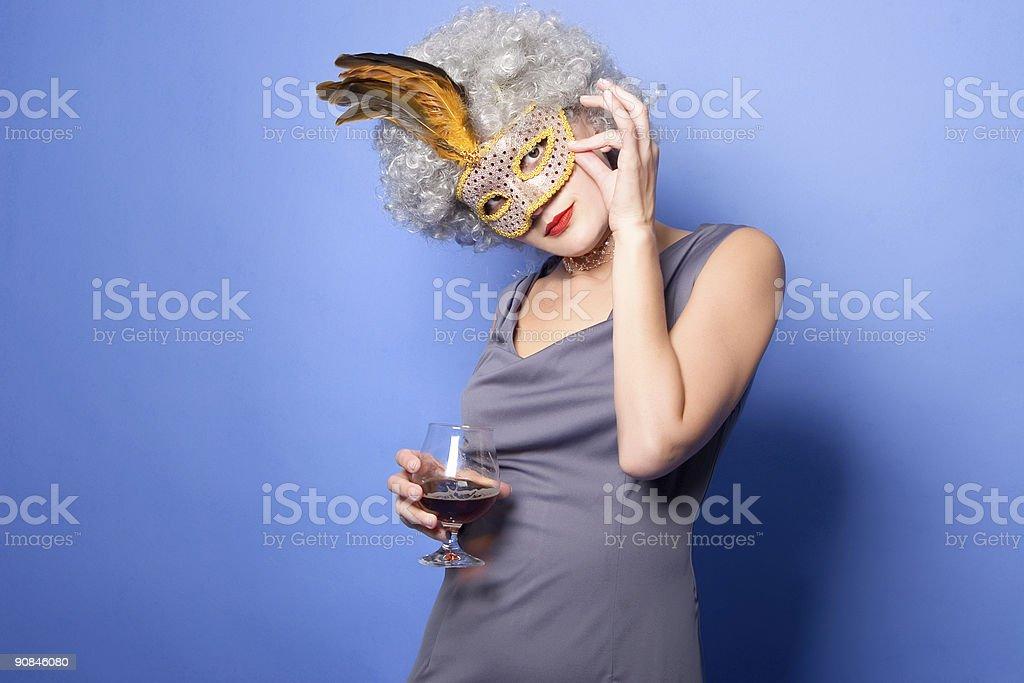 princess with wine stock photo