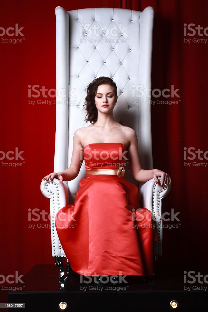 princess woman in a red stock photo